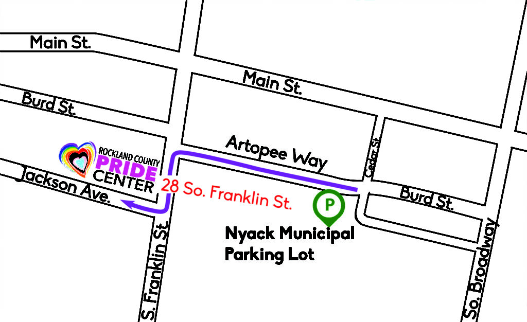 map directing people to walk along artopee way, make a left on franklin and a left on jackson to arrive at the pride center from the nyack municipal parking lot