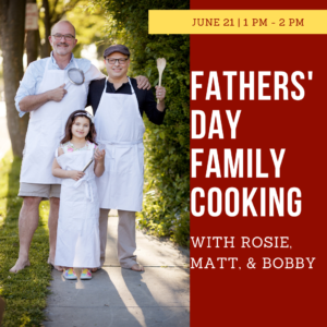"a family of light skin people, two men (matt and bobby) and their daughter rosie stand outdoors wearing aprons and holding whisks ""father's day family cooking with rosie matt and bobby"""