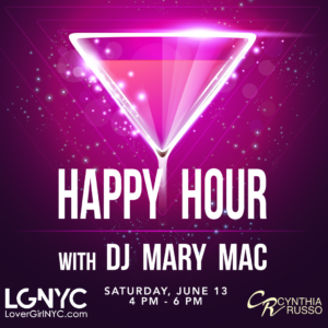 "a graphic of a martini glass with a pink triangle inside it with text ""happy hour with DJ mary mac"" rest of text in body"
